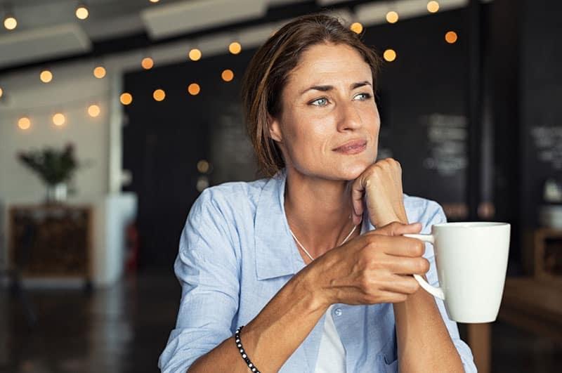 mûrir, femme, boire, café