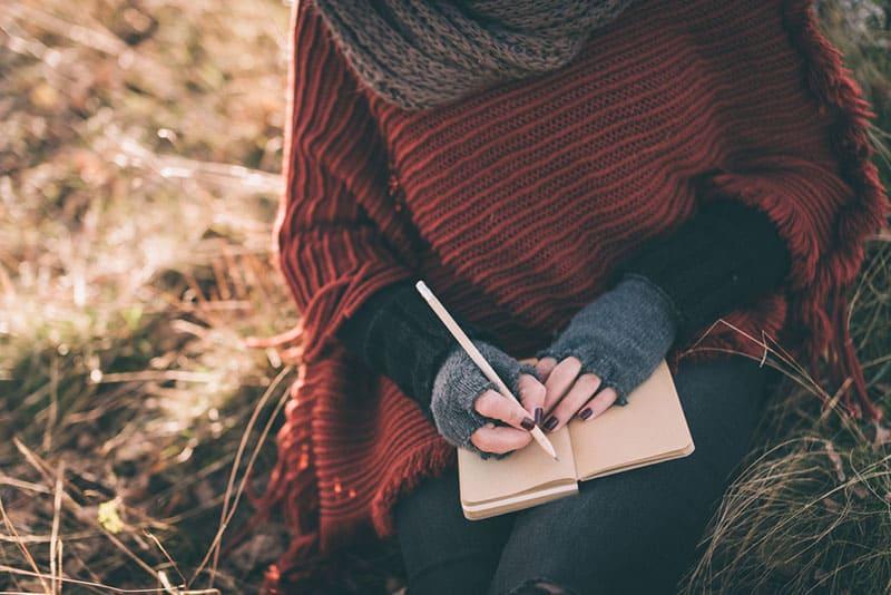 femme, Écriture, cahier, nature