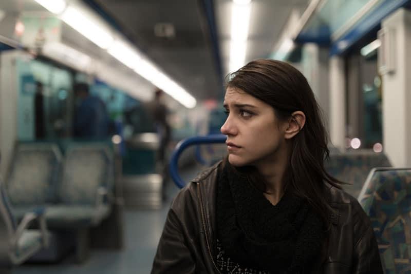 triste, femme, séance, train