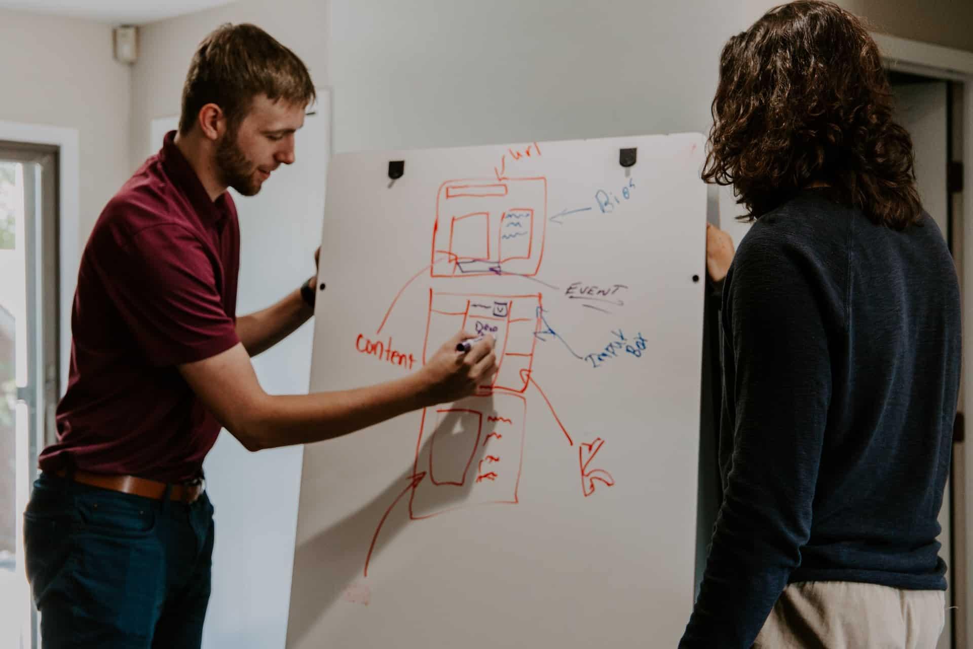 un homme et une femme travaillent sur le projet