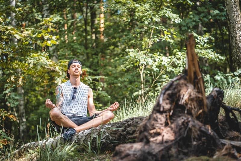 un homme médite sur un arbre tombé dans la forêt