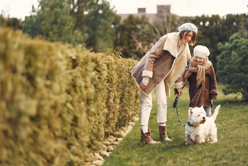 une fille avec sa mère et un chien blanc en promenade