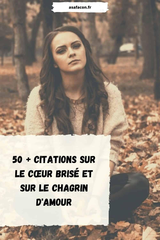 50 + Citations Sur Le Cœur Brisé Et Sur Le Chagrin D'amour