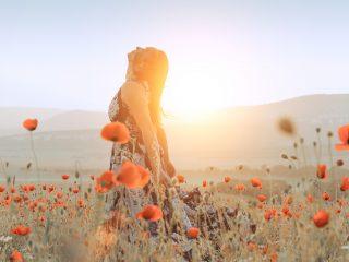 belle fille dans un champ de coquelicots au coucher du soleil