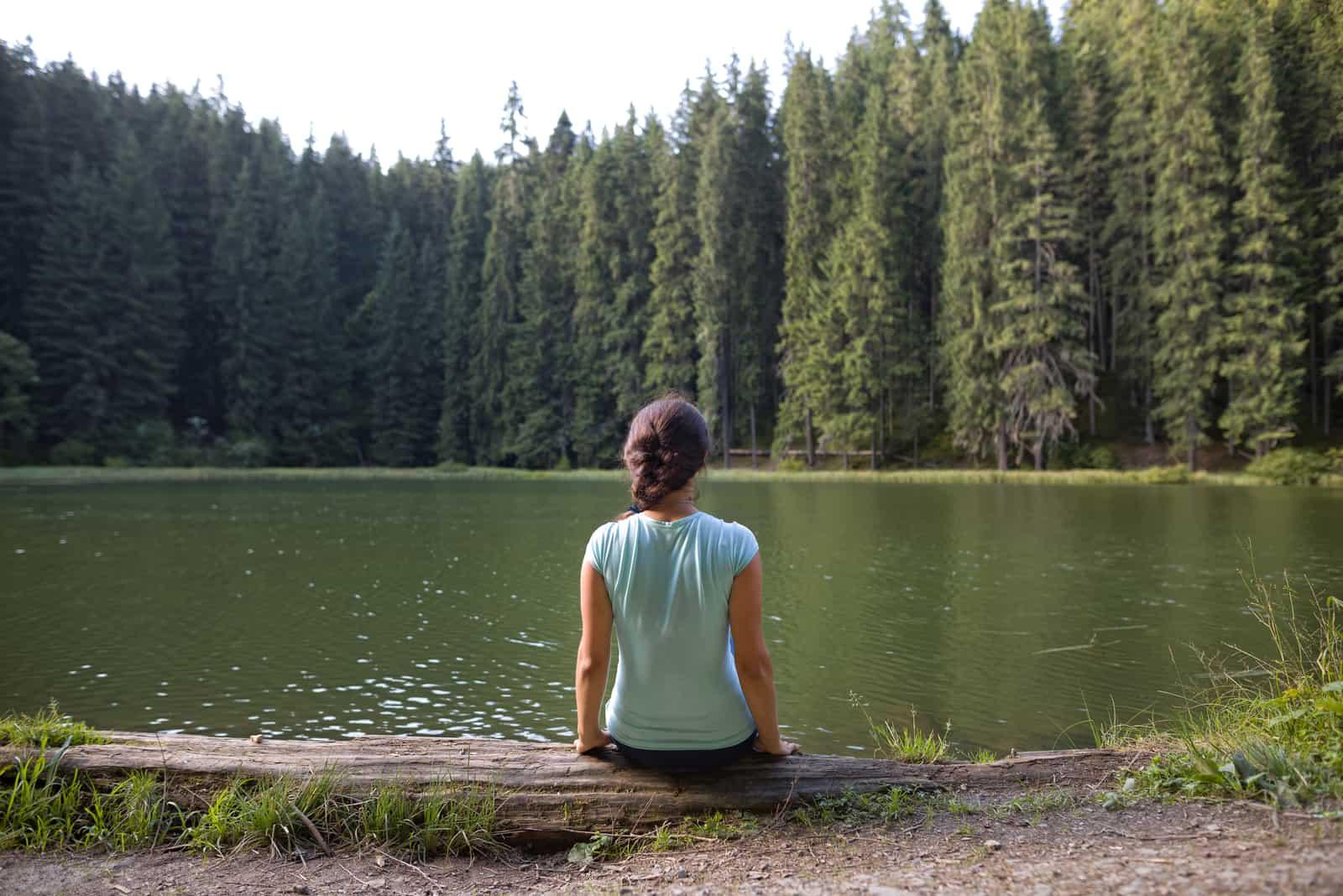 une jeune femme est assise le dos tourné en regardant le lac