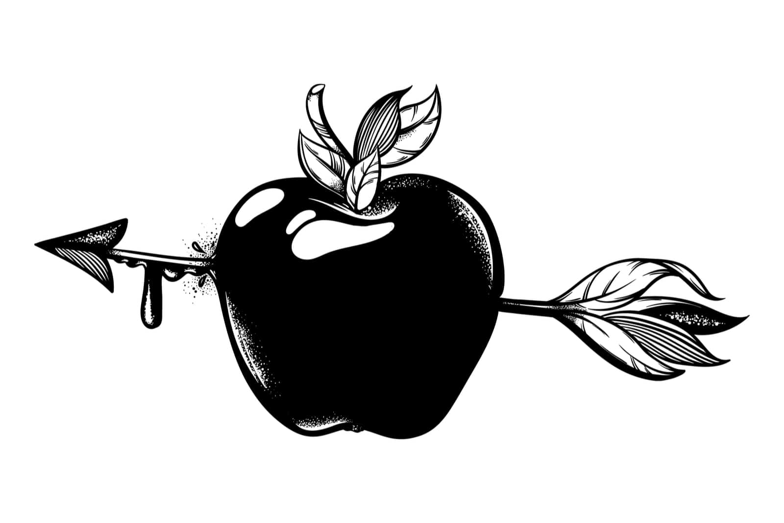 une image d'une pomme percée d'une flèche